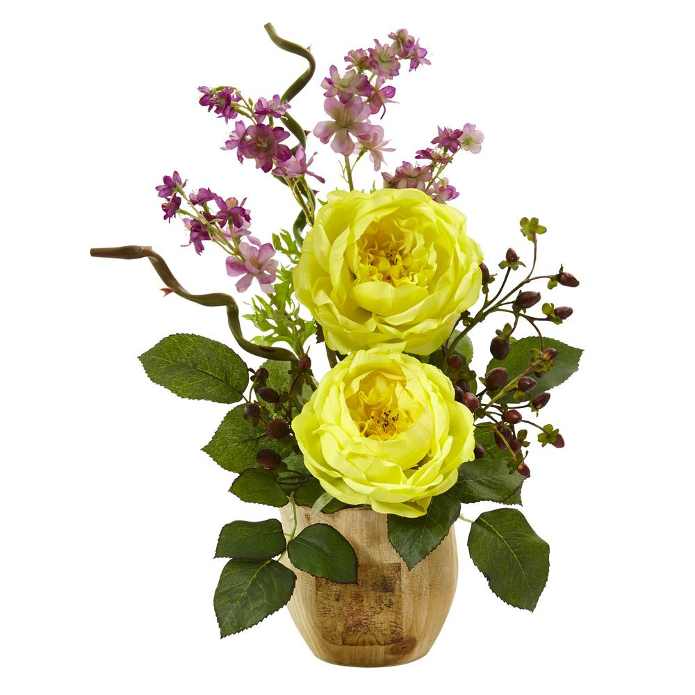 Nearly natural 17 in large rose and dancing daisy in wooden pot in large rose and dancing daisy in wooden pot in yellow izmirmasajfo