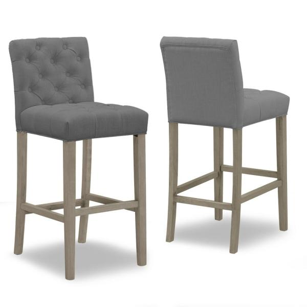 29 in. Alee Grey Fabric with Tufted Buttons and Wood Legs Bar Stool (Set of 2)