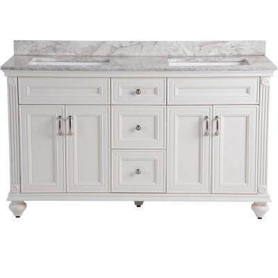 Annakin 61 in. W x 22 in. D Vanity in Cream with Stone Effects Vanity Top in Winter Mist with White Basin