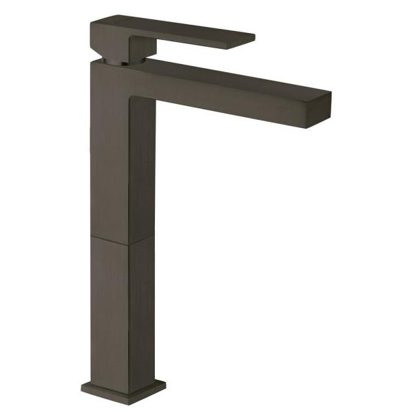 Quadro Single-Hole Single-Handle Tall Vessel Bathroom Faucet in Black