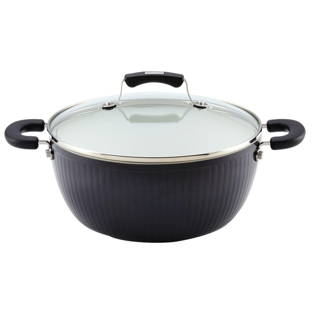 Paula Deen Savannah Collection Aluminum Nonstick 5.5 qt. Covered Casserole in Black
