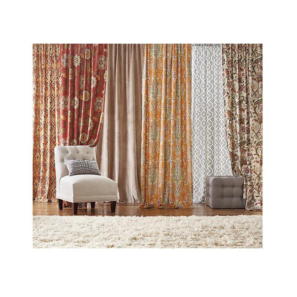 Home Decorators Collection Semi-Opaque Karani 84 in. L Cotton Drapery Panel in Cognac