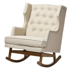 2 baxton studio iona midcentury beige fabric upholstered rocking chair