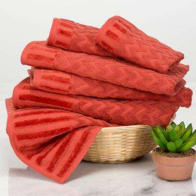 Chevron Egyptian Cotton Towel Set in Brick (6-Piece)