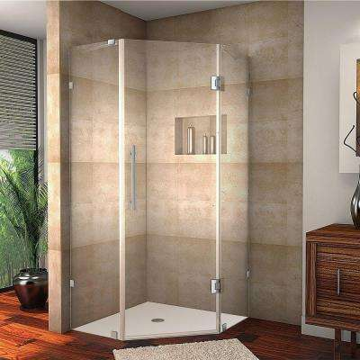 Neoscape 42 in. x 72 in. Frameless Neo-Angle Shower Enclosure in Stainless Steel with Self-Closing Hinges
