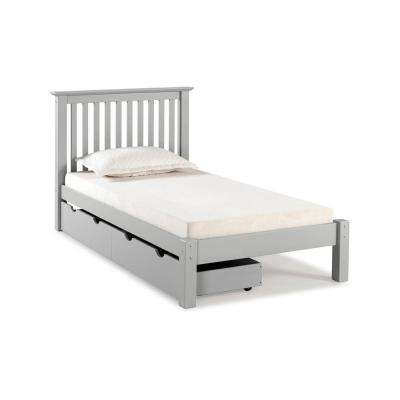Barcelona Dove Gray Twin Bed with Storage Drawers