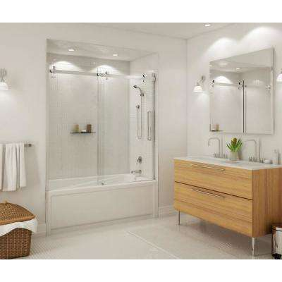 Halo 59 in. x 59 in. Frameless Sliding Tub Door in Chrome