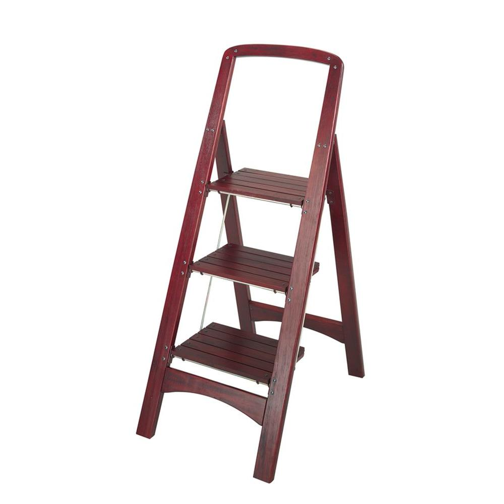 Rockford 3-Step Mahogany Wood Step Stool Ladder with 225 lb. Load