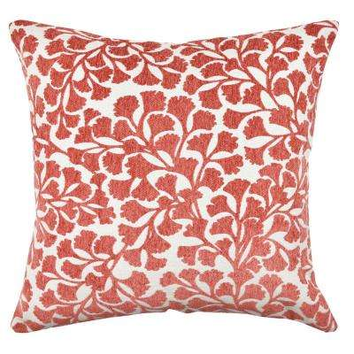 Red Floral Flocked Throw Pillow