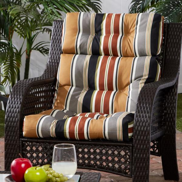 Greendale Home Fashions 22 In X 44 In Outdoor High Back Dining Chair Cushion In Brick Stripe Oc4809 Brick The Home Depot