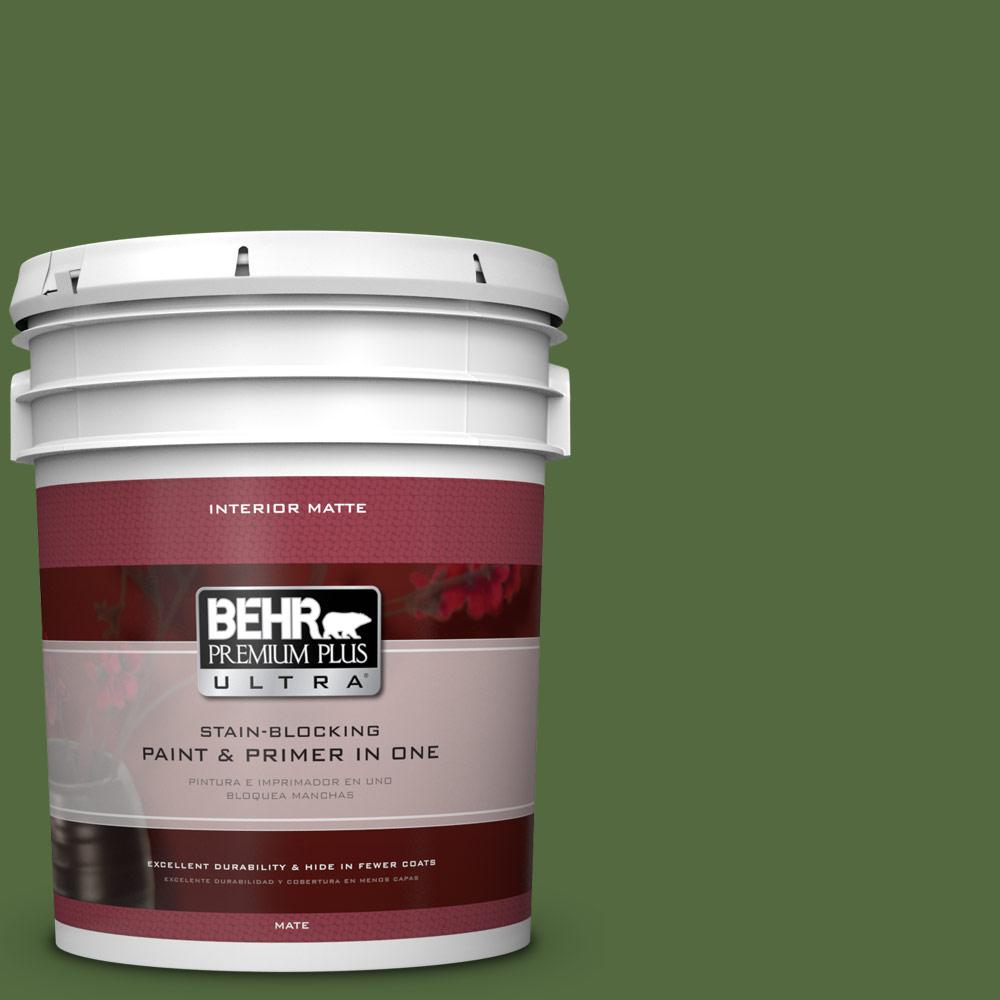 5 gal. #M380-7 Alfalfa Extract Matte Interior Paint and Primer in