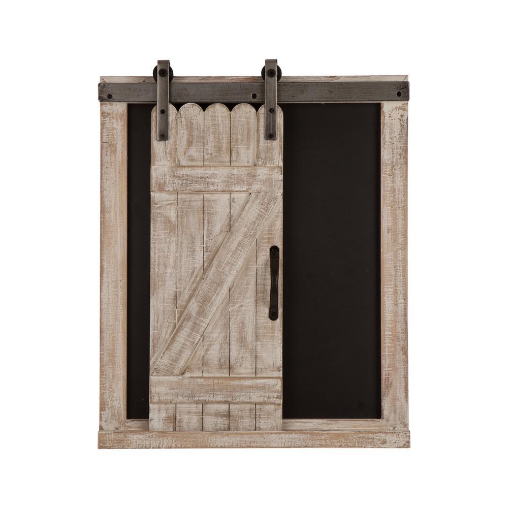 "19.75"" H Farmhouse Wooden Chalkboard Barn Door Memo Board Wall Decor"