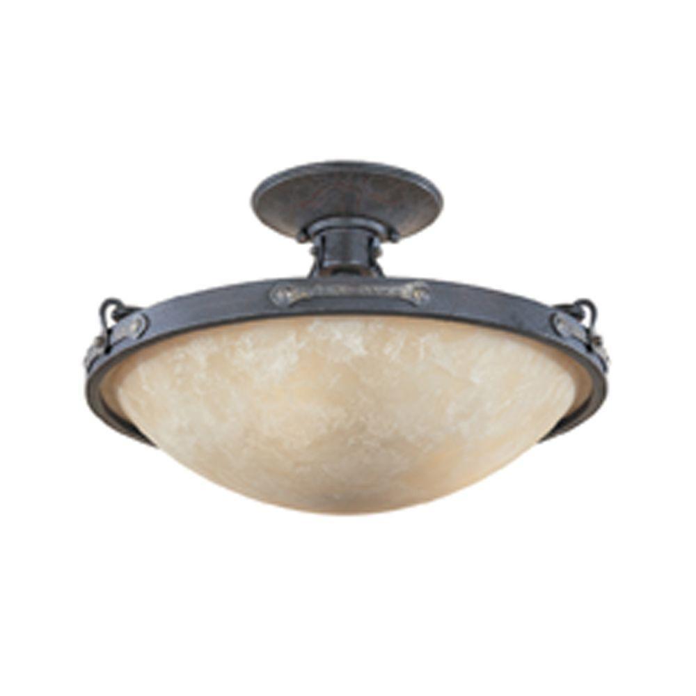 Austin 3-Light Weathered Saddle Ceiling Semi-Flush Mount Light