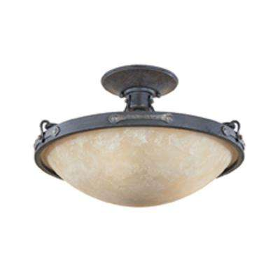 Austin 3-Light Weathered Saddle Ceiling Semi-Flush Mount Light