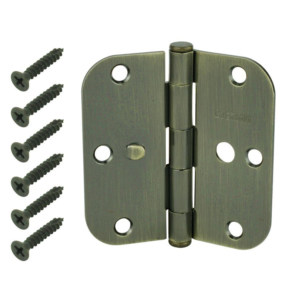 Antique Brass 5/8 in. Radius - Everbilt 3-1/2 In. Antique Brass 5/8 In. Radius Security Door Hinges