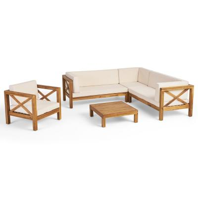 Brava Teak Brown 5-Piece Wood Patio Conversation Sectional Seating Set with Beige Cushions