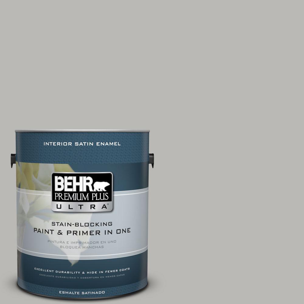 BEHR Premium Plus Ultra 1-Gal. #PPU18-11 Classic Silver Satin Enamel Interior Paint
