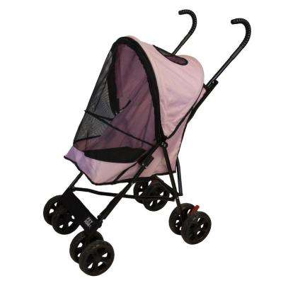 15.5 in. x 11 in. x 23 in. Pink Travel Lite Pet Stroller