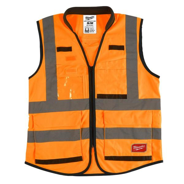 Premium Small/Medium Orange Class 2-High Visibility Safety Vest with 15 Pockets