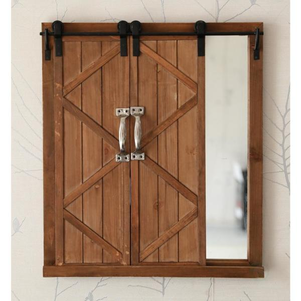 Vintiquewise Decorative Mirror With Sliding Barn Style Wood Rustic Shutters Qi003293 The Home Depot