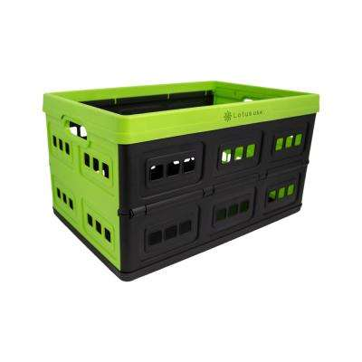 Foldable 33 Qt. Perforated Storage Crate in Green/Black
