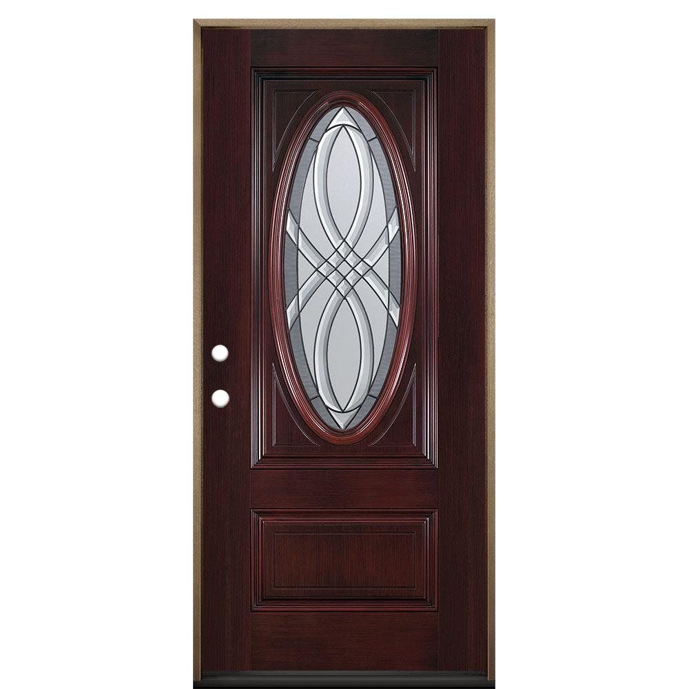 Masonite 36 in. x 80 in. Everland Cianne Cherry Right-Hand Inswing 3/4 Oval Finished Smooth Fiberglass Prehung Front Door