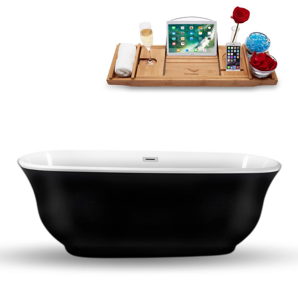66.9 in. Acrylic, Fiberglass Flatbottom Non-Whirlpool Bathtub in Glossy Black