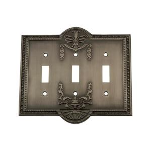 Nostalgic Warehouse Meadows Switch Plate with Triple Toggle in Antique Pewter by Nostalgic Warehouse