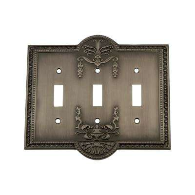 Meadows Switch Plate with Triple Toggle in Antique Pewter