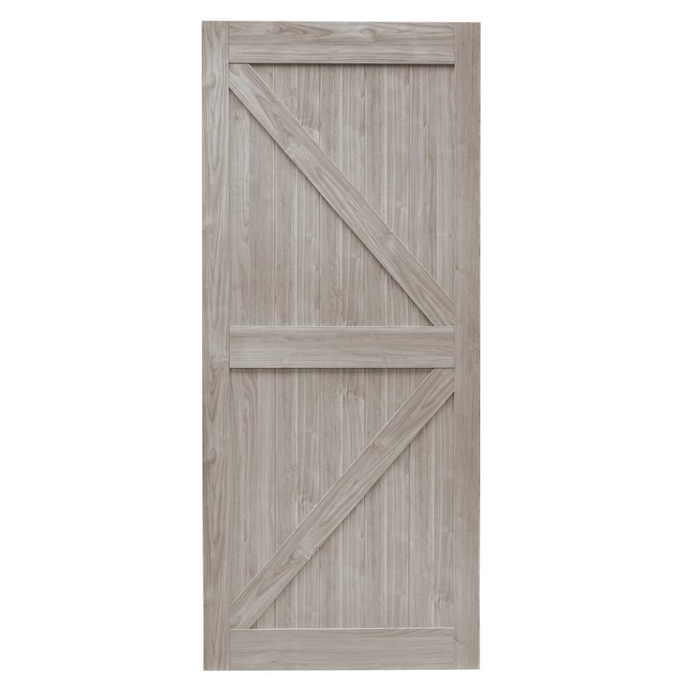 Gray Mdf K Frame Interior Barn Door Slab