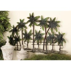 38 inch x 25 inch New Traditional Green and Brown Metal Palm Wall Decor by