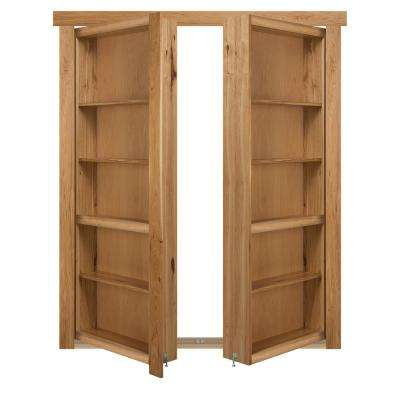 72 in. x 80 in. Flush Mount Assembled Hickory Natural Stained Universal Solid Core Interior French Bookcase Door