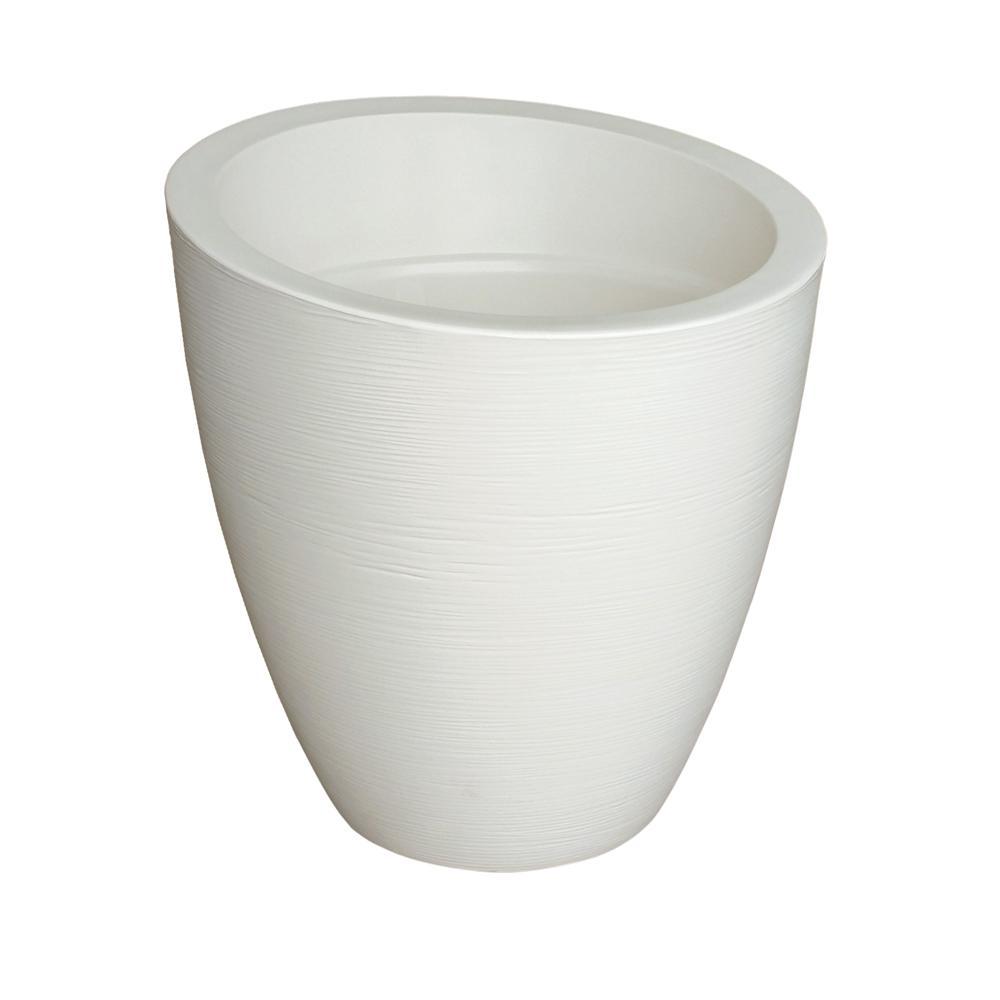 Modesto 30 in. Round Ivory Plastic Planter