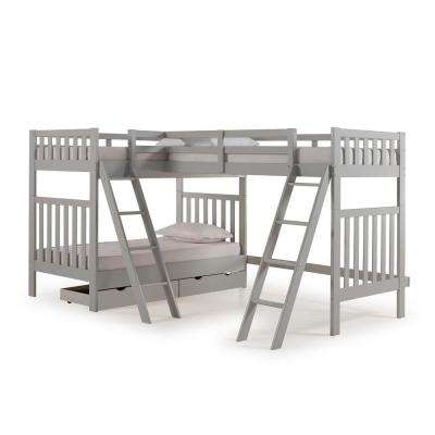 Aurora Dove Gray Twin Over Twin Bunk Bed with Third Bunk Extension and Storage Drawers
