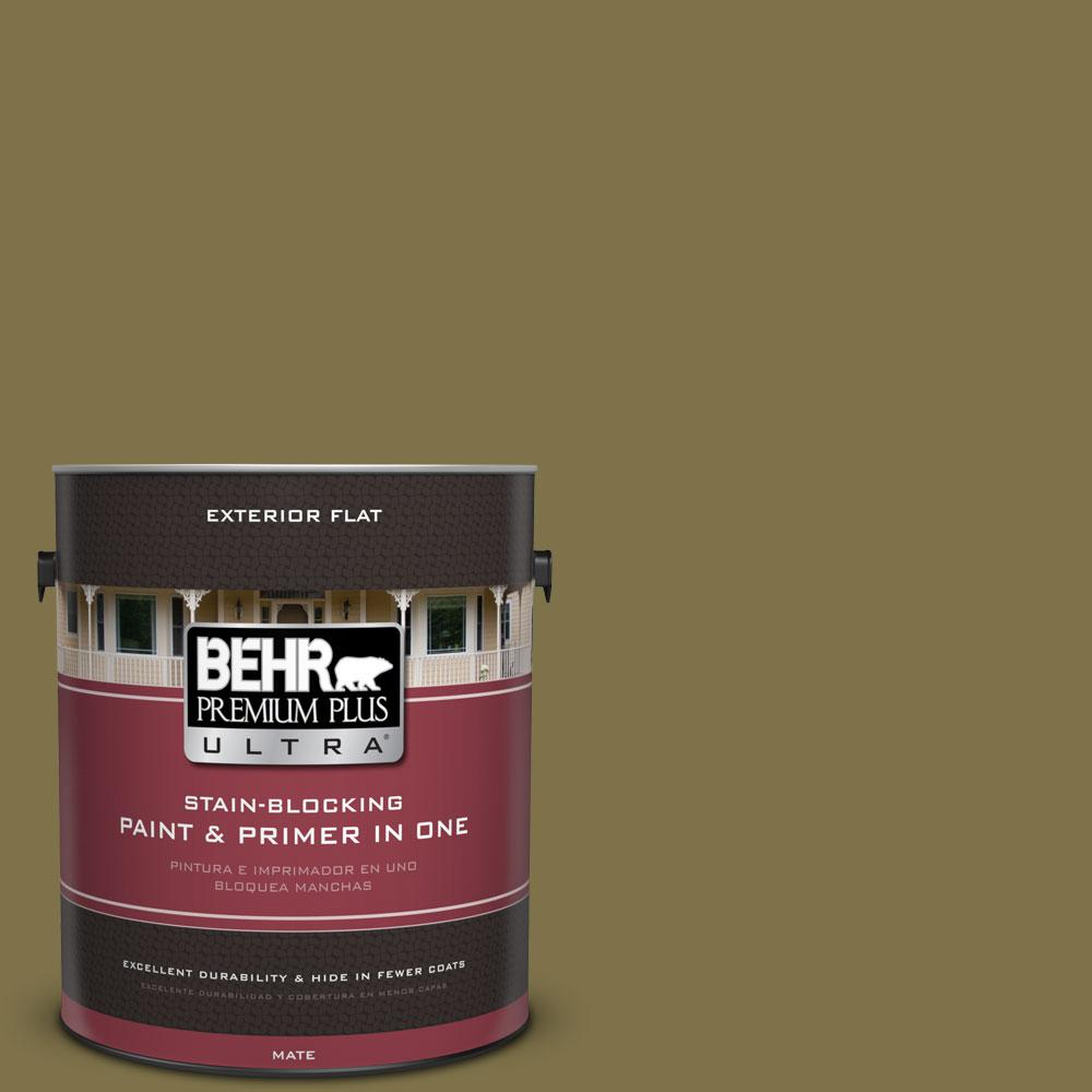 1-gal. #S330-7 Olive Shade Flat Exterior Paint