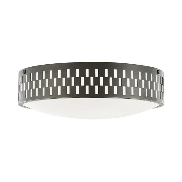 Phoebe 4.5 in. 3-Light Aged Brass Flush Mount with Opal Matte Shade