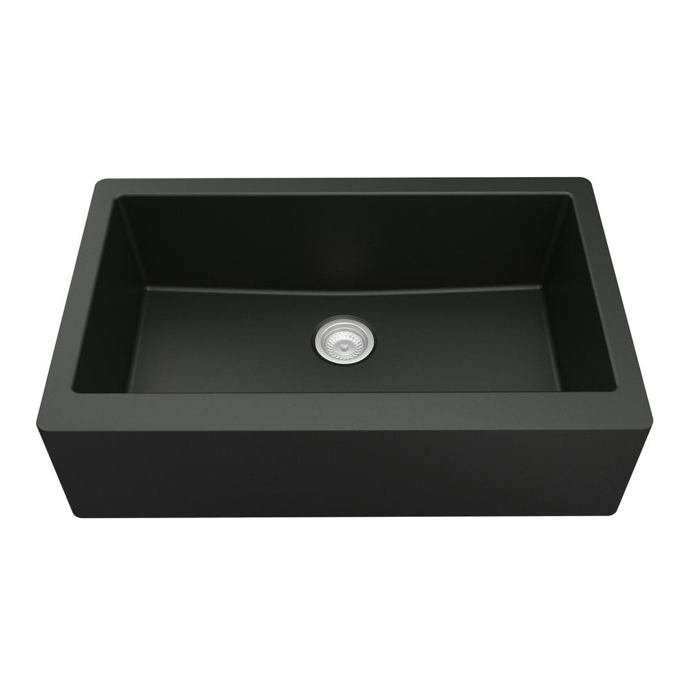 Karran Farmhouse/Apron-Front Quartz Composite 34 in. Single Bowl Kitchen Sink in Black