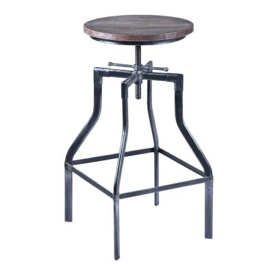 Concord Adjustable Barstool in Industrial Grey with Pine Wood Seat