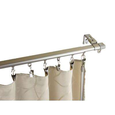 28 in. - 48 in. Silver Armor Adjustable Baton Draw Track Curtain Rod Set