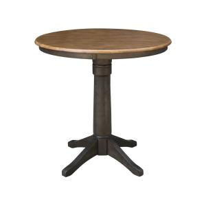 Hickory / Coal 36 in. Round Solid Wood Counter Height Dining Table