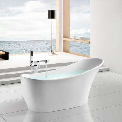 63 in. Fiberglass Flatbottom Non-Whirlpool Bathtub in Glossy White with Tub Filler Combo Modern Stand Alone Tub