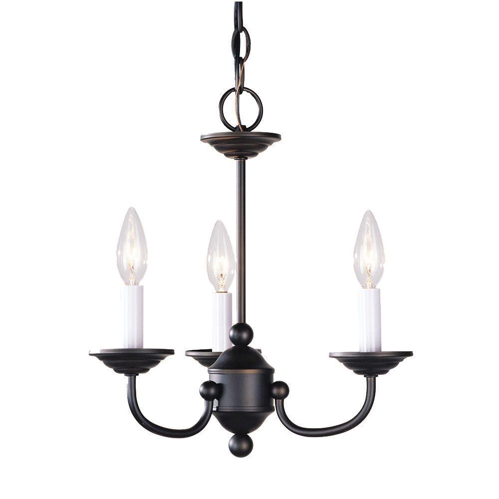 3-Light Bronze Chandelier