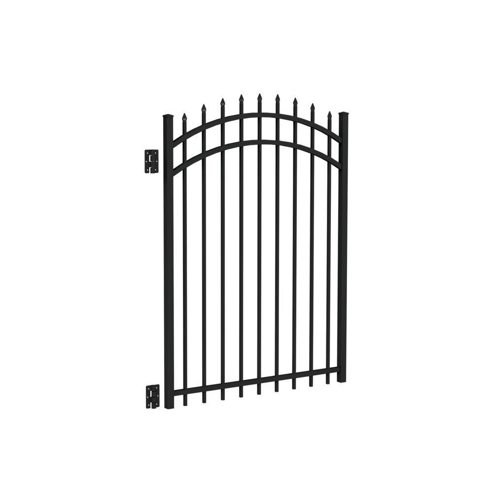 Cascade Standard-Duty 4 ft. W x 5 ft. H Black Aluminum Arched Pre-Assembled Fence Gate