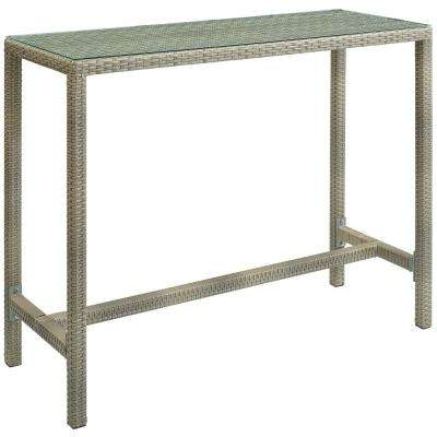 Conduit Wicker Outdoor Bar Height Outdoor Dining Table in Light Gray