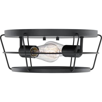 Glavin 13 in. 2-Light Matte Black Flush Mount