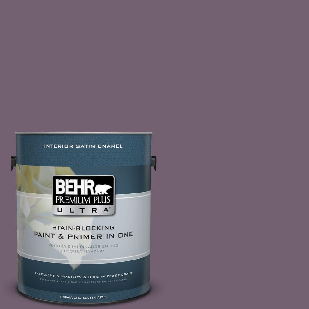 BEHR Premium Plus Ultra 1-gal. #680F-6 Shy Violet Satin Enamel Interior Paint