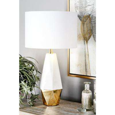 27 in. White Faceted Pear-Shaped Table Lamp with Gold Accents