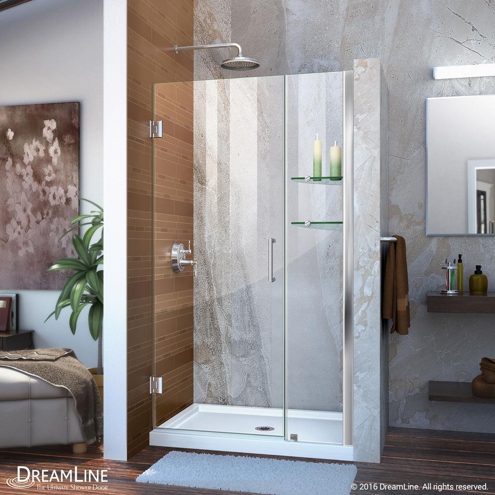 Unidoor 40 to 41 in. x 72 in. Frameless Hinged Pivot Shower Door in Chrome with Handle