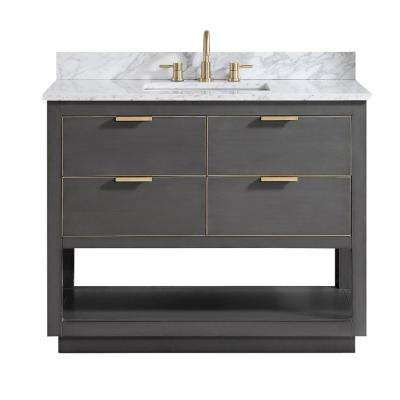 Allie 43 in. W x 22 in. D Bath Vanity in Gray with Gold Trim with Marble Vanity Top in Carrara White with Basin
