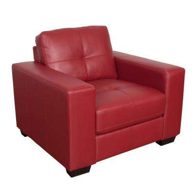 Club Tufted Red Bonded Leather Chair